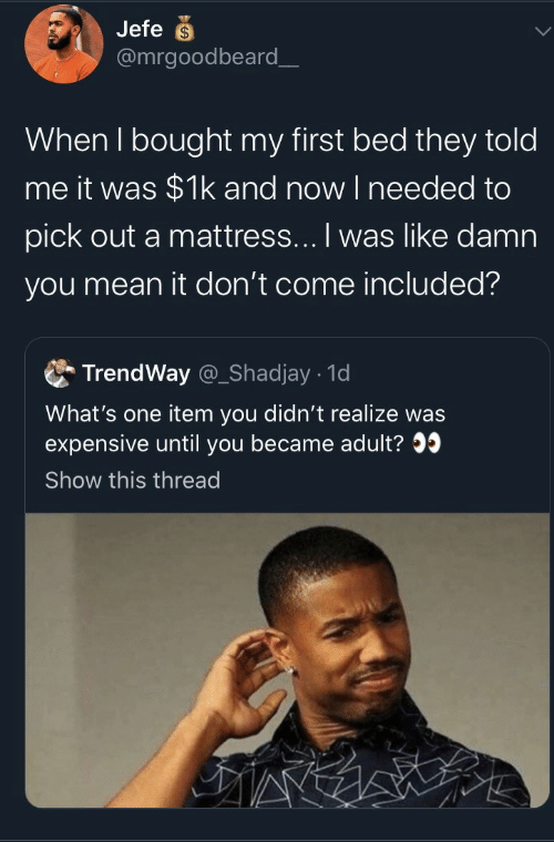 Item: Jefe  @mrgoodbeard_  When I bought my first bed they told  me it was $1k and now I needed to  pick out a mattress... I was like damn  you mean it don't come included?  TrendWay @_Shadjay 1d  What's one item you didn't realize was  expensive until you became adult?  Show this thread
