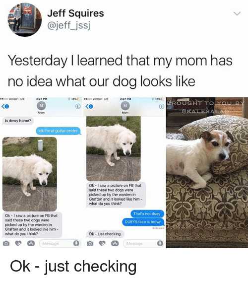 —˜: Jeff Squires  @jeffjss  Yesterday I learned that my mom has  no idea what our dog looks like  00 Verizon LTE  2-27 PM  18% C-  ..000 Verizon  LTE  2:27 PM  EROUGHT TO  KALESALAD  Mom  Mom  Is dewy home?  ldk I'm at guitar center  Ok - I saw a picture on FB that  said these two dogs were  picked up by the warden in  Grafton and it looked like him-  what do you think?  That's not duey  Ok I saw a picture on FB that  said these two dogs were  picked up by the warden in  Grafton and it looked like him-  what do you think?  DUEYS face is brown  Delivered  Ok -just checking  Message  Message  0 Ok - just checking