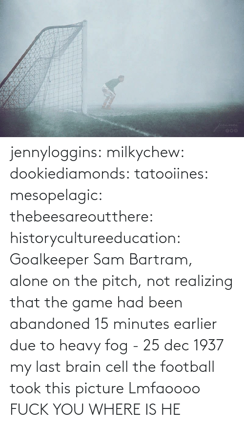 png: jennyloggins:  milkychew: dookiediamonds:  tatooiines:   mesopelagic:  thebeesareoutthere:  historycultureeducation: Goalkeeper Sam Bartram, alone on the pitch, not realizing that the game had been abandoned 15 minutes earlier due to heavy fog - 25 dec 1937 my last brain cell   the football took this picture    Lmfaoooo      FUCK YOU WHERE IS HE