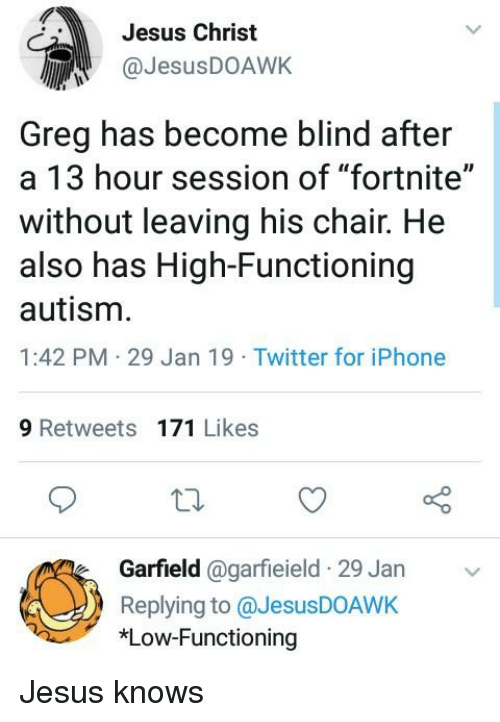 "Iphone, Jesus, and Twitter: Jesus Christ  JesusDOAWK  Greg has become blind after  a 13 hour session of ""fortnite""  without leaving his chair. He  also has High-Functioning  autism  1:42 PM 29 Jan 19 Twitter for iPhone  9 Retweets 171 Likes  Garfield @garfieield 29 Jan  Replying to @JesusDOAWK  *Low-Functioning"