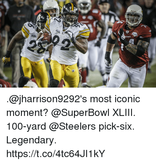 Anaconda, Memes, and Steelers: .@jharrison9292's most iconic moment?   @SuperBowl XLIII.  100-yard @Steelers pick-six.  Legendary. https://t.co/4tc64JI1kY