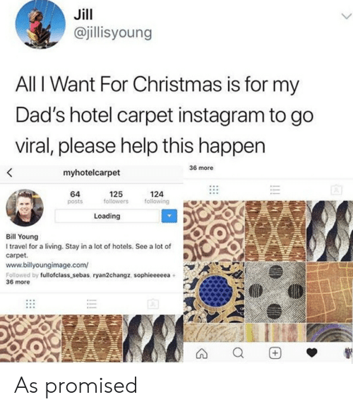 Christmas, Instagram, and Help: Jill  @jillisyoung  All I Want For Christmas is for my  Dad's hotel carpet instagram to go  viral, please help this happen  36 more  <  myhotelcarpet  64  125  followers  124  following  posts  Loading  Bill Young  I travel for a living. Stay in a lot of hotels. See a lot of  carpet  www.billyoungimage.com/  Followed by fullofclass_sebas, ryan2changz, sophieeeeea  36 more  !!  + As promised