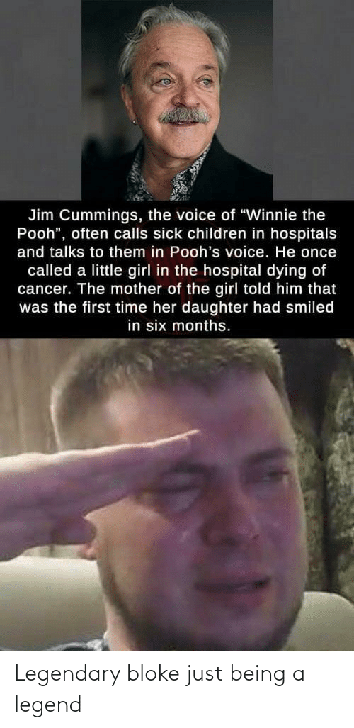 "pooh: Jim Cummings, the voice of ""Winnie the  Pooh"", often calls sick children in hospitals  and talks to them in Pooh's voice. He once  called a little girl in the hospital dying of  cancer. The mother of the girl told him that  was the first time her daughter had smiled  in six months. Legendary bloke just being a legend"