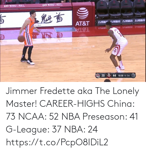 China: Jimmer Fredette aka The Lonely Master!   CAREER-HIGHS China: 73 NCAA: 52 NBA Preseason: 41  G-League: 37 NBA: 24   https://t.co/PcpO8IDiL2