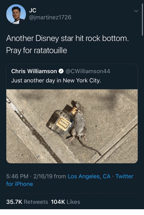 New York City: @jmartinez1726  Another Disney star hit rock bottom  Pray for ratatouille  Chris Williamson @CWilliamson44  Just another day in New York City.  5:46 PM 2/16/19 from Los Angeles, CA Twitter  for iPhone  35.7K Retweets 104K Likes