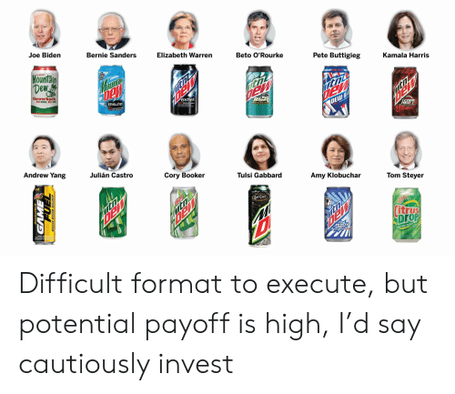 Bernie Sanders, Elizabeth Warren, and Joe Biden: Joe Biden  Bernie Sanders  Elizabeth Warren  Beto O'Rourke  Pete Buttigieg  Kamala Harris  Mountain  Dew  -hooo!  LIDE  E RED W  Dey  DEW SA  ELW!  throwback  REAL SUGAR.. REAL GOOD  itni  ItnL  VOLTAGE  DEW d WRp  REVOLUTION  Bale  Blast  NTH ER TRLL  ICODE  RED  Andrew Yang  Julián Castro  Cory Booker  Tulsi Gabbard  Amy Klobuchar  Tom Steyer  LMITED  Lost Cane  Citrus  DroP  moomcane  POP THE DrOP Difficult format to execute, but potential payoff is high, I'd say cautiously invest
