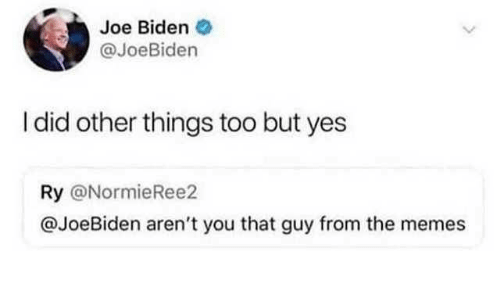 Joe Biden: Joe Biden  @JoeBiden  I did other things too but yes  Ry @NormieRee2  @JoeBiden aren't you that guy from the memes