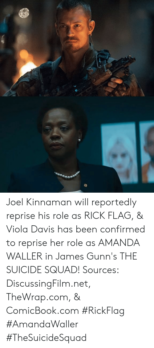 Memes, Squad, and Suicide Squad: Joel Kinnaman will reportedly reprise his role as RICK FLAG, & Viola Davis has been confirmed to reprise her role as AMANDA WALLER in James Gunn's THE SUICIDE SQUAD!   Sources: DiscussingFilm.net, TheWrap.com, & ComicBook.com   #RickFlag #AmandaWaller #TheSuicideSquad