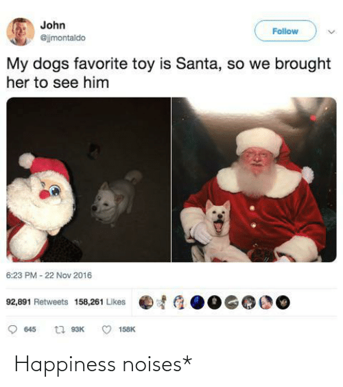 john: John  Follow  @jjmontaldo  My dogs favorite toy is Santa, so we brought  her to see him  6:23 PM - 22 Nov 2016  92,891 Retweets 158,261 Likes  t1 93K  645  158K Happiness noises*