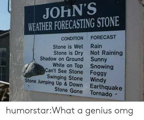 Forecast: JOHN'S  WEATHER FORECASTING STONE  FORECAST  CONDITION  Stone is Wet Rain  Stone is Dry Not Raining  Shadow on Ground Sunny  White on Top Snowing  Can't See Stone Foggy  Swinging Stone Windy  Stone Jumping Up & Down Earthquake  Stone Gone Tornado humorstar:What a genius omg