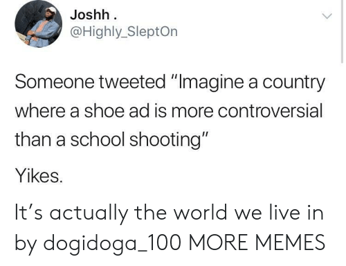 """Anaconda, Dank, and Memes: Joshh  @Highly_SleptOn  Someone tweeted """"Imagine a country  where a shoe ad is more controversial  than a school shooting""""  Yikes. It's actually the world we live in by dogidoga_100 MORE MEMES"""