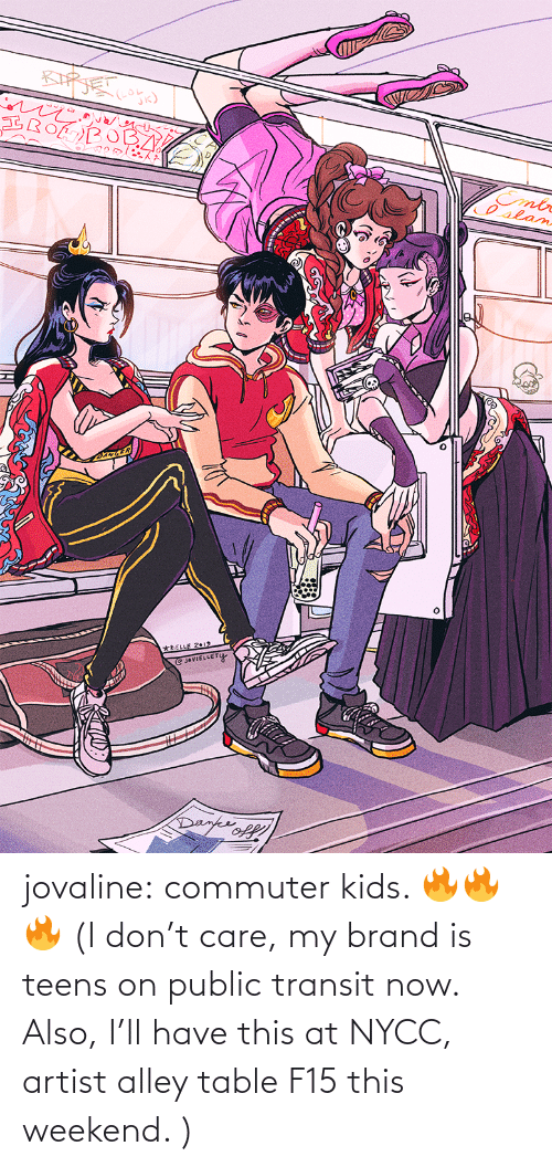 tumblr: jovaline: commuter kids. 🔥🔥🔥 (I don't care, my brand is teens on public transit now. Also, I'll have this at NYCC, artist alley table F15 this weekend. )