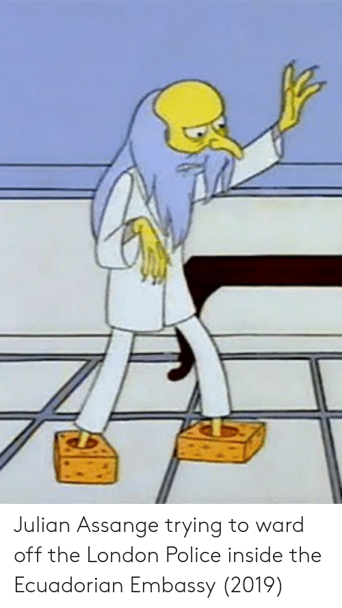 Police, London, and Julian Assange: Julian Assange trying to ward off the London Police inside the Ecuadorian Embassy (2019)