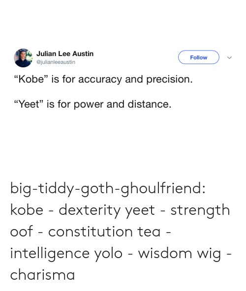 "Tumblr, Yolo, and Blog: Julian Lee Austin  @julianleeaustin  Follow  ""Kobe"" is for accuracy and precision.  ""Yeet"" is for power and distance. big-tiddy-goth-ghoulfriend: kobe - dexterity yeet - strength oof - constitution tea - intelligence yolo - wisdom wig - charisma"