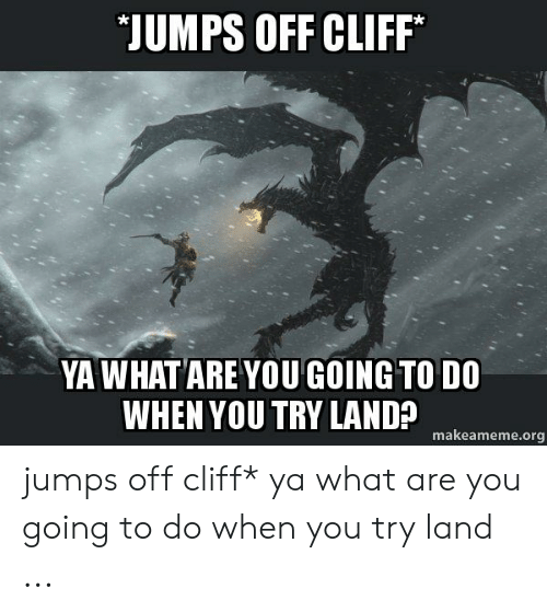 Jumping Off A Cliff Meme: JUMPS OFF CLIFF  YA WHAT ARE YOU GOING TO DO  WHEN YOU TRY LAND?  makeameme.org jumps off cliff* ya what are you going to do when you try land ...