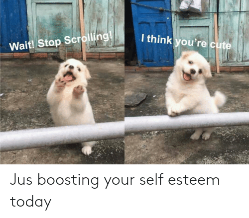 Today: Jus boosting your self esteem today