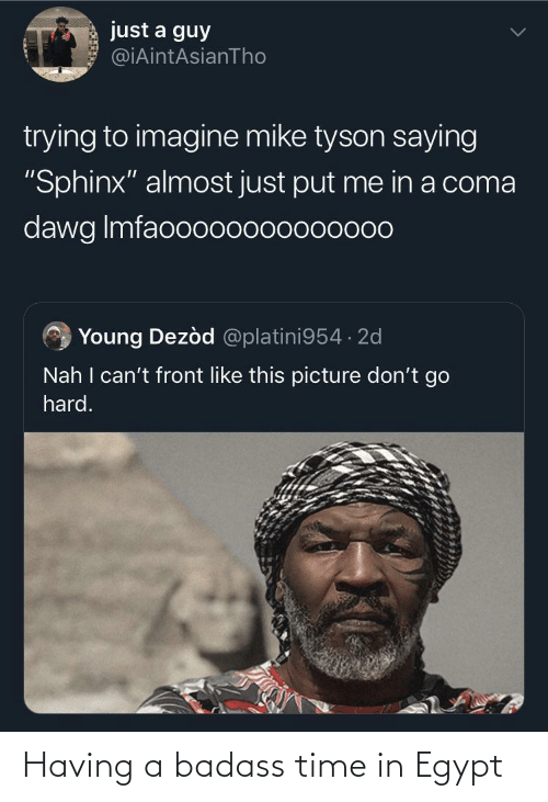 """dawg: just a guy  @iAintAsianTho  trying to imagine mike tyson saying  """"Sphinx"""" almost just put me in a coma  dawg Imfaooo00000000000  Young Dezòd @platini954 · 2d  Nah I can't front like this picture don't go  hard. Having a badass time in Egypt"""