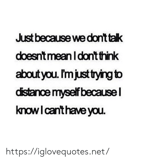 Dont Think: Just because we dont talk  doesnt meanI don't think  aboutyou. I'mjust tying to  distance myself becausel  knowI canthave you https://iglovequotes.net/