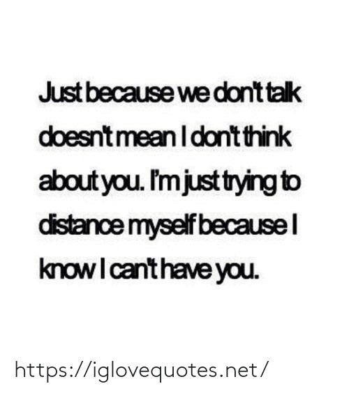 Dont Think: Just because we dont talk  doesntmean I dont think  about you. I'mjusttrying to  distance myself becausel  knowI canthave you. https://iglovequotes.net/