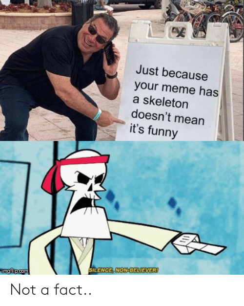 Its Funny: Just because  your meme has  a skeleton  doesn't mean  it's funny  SILENCE, NON-BELIEVER!  mgflip.com Not a fact..