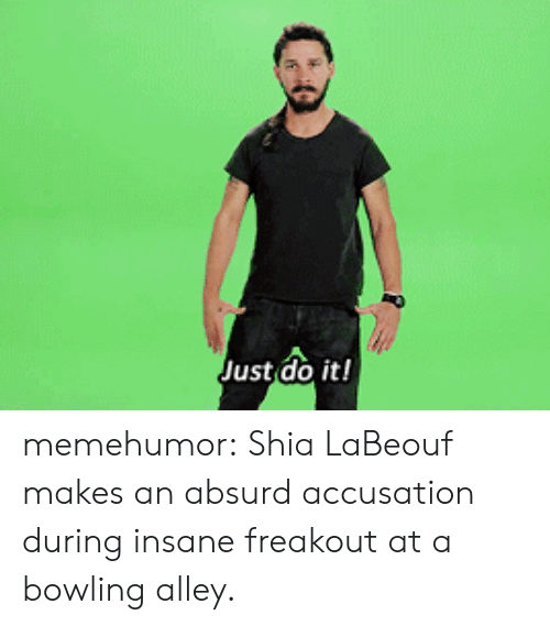 accusation: Just do it! memehumor:  Shia LaBeouf makes an absurd accusation during insane freakout at a bowling alley.