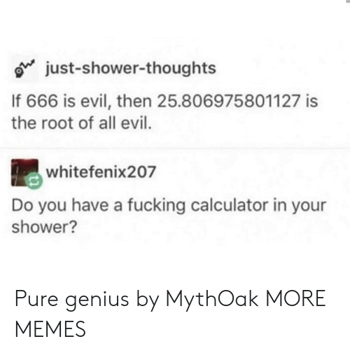 Dank, Fucking, and Memes: just-shower-thoughts  If 666 is evil, then 25.806975801127 is  the root of all evil.  whitefenix207  Do you have a fucking calculator in your  shower? Pure genius by MythOak MORE MEMES