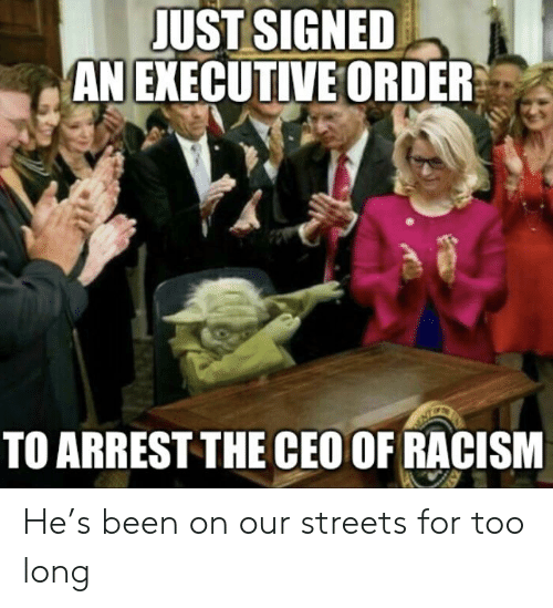 Racism, Streets, and Been: JUST SIGNED  AN EXECUTIVE ORDER  TO ARREST THE CEO OF RACISM He's been on our streets for too long
