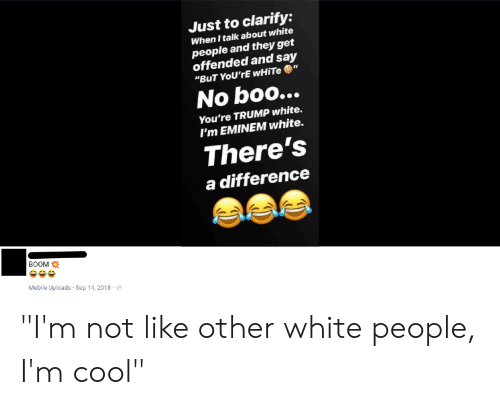 """Boo, Eminem, and White People: Just to clarify:  When I talk about white  people and they get  offended and say  """"BuT YoU'rE WHITE""""  No boo...  You're TRUMP white.  I'm EMINEM white.  There's  a difference  