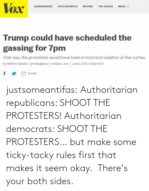 Both: justsomeantifas: Authoritarian republicans: SHOOT THE PROTESTERS!