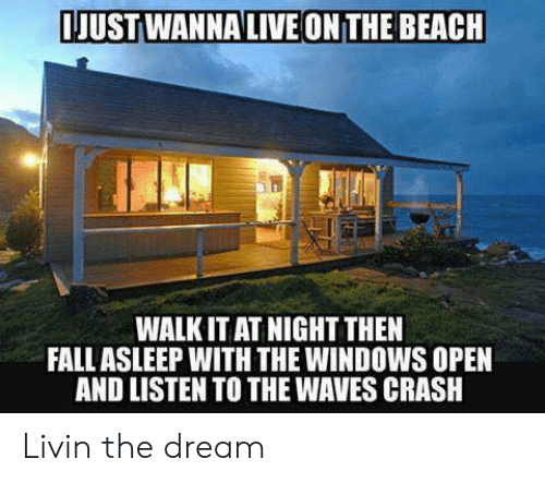 Livin The Dream: JUSTWANNALIVE ONTHE BEACH  WALK IT AT NIGHT THEN  FALLASLEEP WITH THE WINDOWS OPEN  AND LISTEN TO THE WAVES CRASH Livin the dream