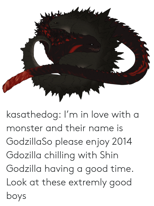 Godzilla, Love, and Monster: kasathedog:  I'm in love with a monster and their name is GodzillaSo please enjoy 2014 Gdozilla chilling with Shin Godzilla having a good time. Look at these extremly good boys