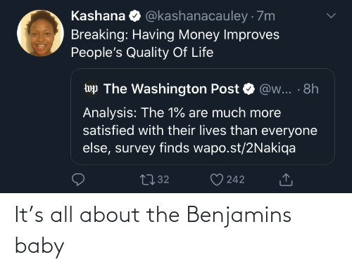 Money: @kashanacauley · 7m  Kashana  Breaking: Having Money Improves  People's Quality Of Life  wp The Washington Post  @w... · 8h  Analysis: The 1% are much more  satisfied with their lives than everyone  else, survey finds wapo.st/2Nakiqa  2732  242 It's all about the Benjamins baby