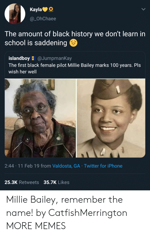 Anaconda, Dank, and Iphone: KaylaO  @_OhChaee  The amount of black history we don't learn in  school is saddening  islandboy @JumpmanKay  The first black female pilot Millie Bailey marks 100 years. Pls  wish her well  2:44 11 Feb 19 from Valdosta, GA Twitter for iPhone  25.3K Retweets 35.7K  Likes Millie Bailey, remember the name! by CatfishMerrington MORE MEMES