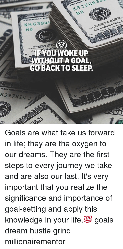 firstly: KB 156833  B2  KH 63 94  H 8  MRLIONAIRE MENTOR  YOUWOKE UP  WITHOUT A GOAL,  GOBACK TO SLEEP  6397914J  TEND Goals are what take us forward in life; they are the oxygen to our dreams. They are the first steps to every journey we take and are also our last. It's very important that you realize the significance and importance of goal-setting and apply this knowledge in your life.💯 goals dream hustle grind millionairementor