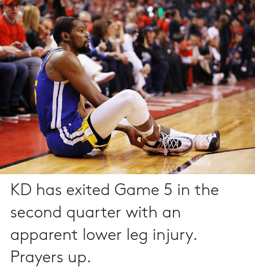 apparent: KD has exited Game 5 in the second quarter with an apparent lower leg injury. Prayers up.