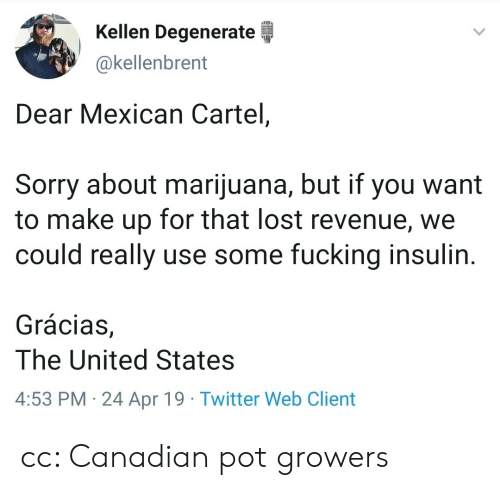 Fucking, Sorry, and Twitter: Kellen Degenerate  @kellenbrent  Dear Mexican Cartel,  Sorry about marijuana, but if you want  to make up for that lost revenue, we  could really use some fucking insulin  Grácias,  The United States  4:53 PM 24 Apr 19 Twitter Web Client cc: Canadian pot growers