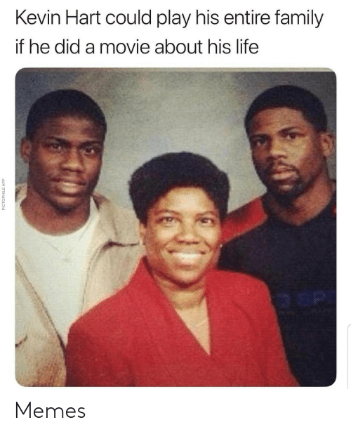 Kevin Hart: Kevin Hart could play his entire family  if he did a movie about his life  PICTOPHILE APP Memes