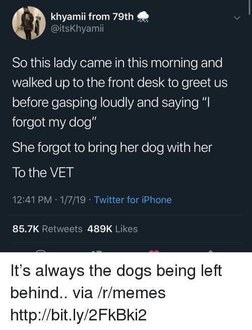 """Dogs, Iphone, and Memes: khyamii from 79th  @itsKhyamii  So this lady came in this morning and  walked up to the front desk to greet us  before gasping loudly and saying """"I  forgot my dog""""  She forgot to bring her dog with her  To the VET  12:41 PM 1/7/19 Twitter for iPhone  85.7K Retweets 489K Likes It's always the dogs being left behind.. via /r/memes http://bit.ly/2FkBki2"""