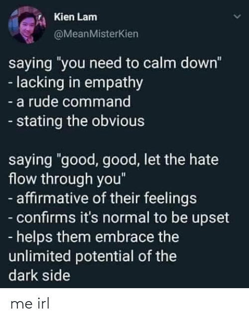 "Empathy: Kien Lam  @MeanMisterKien  saying ""you need to calm down""  - lacking in empathy  - a rude command  - stating the obvious  saying ""good, good, let the hate  flow through you""  - affirmative of their feelings  - confirms it's normal to be upset  - helps them embrace the  unlimited potential of the  dark side me irl"