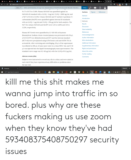 security: killl me this shit makes me wanna jump into traffic im so bored. plus why are these fuckers making us use zoom when they know they've had 593408375408750297 security issues