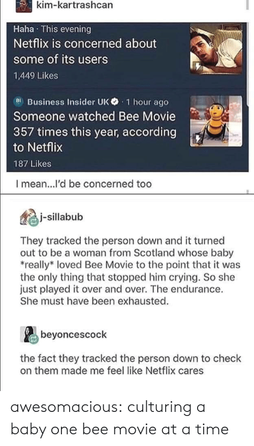 Bee Movie, Crying, and Netflix: kim-kartrashcan  Haha This evening  Netflix is concerned about  some of its users  1,449 Likes  el Business Insider UK 1 hour ago  Someone watched Bee Movie  357 times this year, according  to Netflix  187 Likes  I mean...l'd be concerned too  illbub  They tracked the person down and it turned  out to be a woman from Scotland whose baby  really* loved Bee Movie to the point that it was  the only thing that stopped him crying. So she  just played it over and over. The endurance.  She must have been exhausted.  beyoncescock  the fact they tracked the person down to check  on them made me feel like Netflix cares awesomacious:  culturing a baby one bee movie at a time