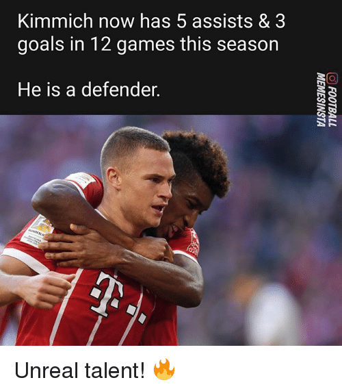 Kimmich: Kimmich now has 5 assists & 3  goals in 12 games this season  He is a defender. Unreal talent! 🔥