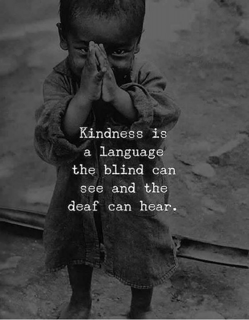 Kindness, Language, and Can: Kindness is  a language  the blind can  see and the  deaf can hear.