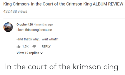 🐣 25+ Best Memes About King Crimson in the Court of the