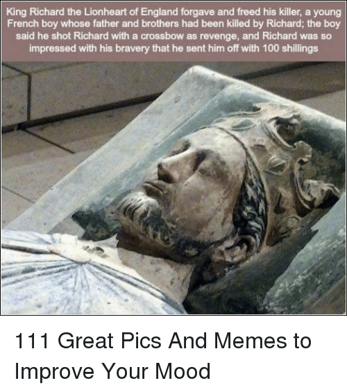 Anaconda, England, and Memes: King Richard the Lionheart of England forgave and freed his killer, a young  French boy whose father and brothers had been killed by Richard; the boy  said he shot Richard with a crossbow as revenge, and Richard was so  impressed with his bravery that he sent him off with 100 shillings 111 Great Pics And Memes to Improve Your Mood