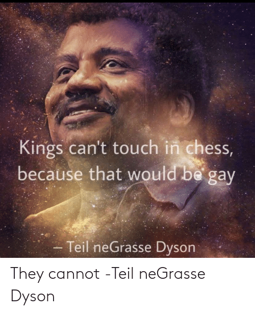 Cannot: Kings can't touch in chess,  because that would be gay  Teil neGrasse Dyson They cannot -Teil neGrasse Dyson