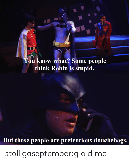 Pretentious, Target, and Tumblr: know what? Some people  think Robin is stupid.  ou   But those people are pretentious douchebags. stolligaseptember:g o d me