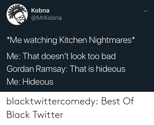 Doesnt: Kobna  @MrKobna  *Me watching Kitchen Nightmares*  Me: That doesn't look too bad  Gordan Ramsay: That is hideous  Me: Hideous blacktwittercomedy:  Best Of Black Twitter