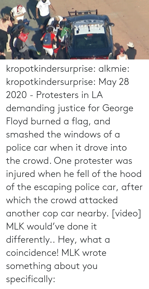 gif: kropotkindersurprise:  alkmie: kropotkindersurprise: May 28 2020 - Protesters in LA demanding justice for George Floyd burned a flag, and smashed the windows of a police car when it drove into the crowd. One protester was injured when he fell of the hood of the escaping police car, after which the crowd attacked another cop car nearby. [video]   MLK would've done it differently..  Hey, what a coincidence! MLK wrote something about you specifically: