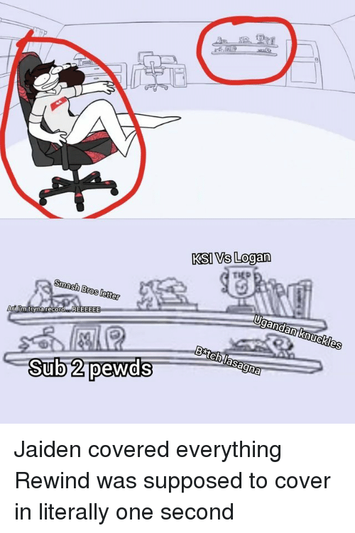 Pewds: KSI Vs Logan  Smash Bros letter  Sub 2 pewds Jaiden covered everything Rewind was supposed to cover in literally one second